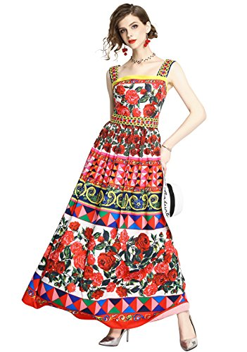 LAI MENG FIVE CATS Womens Summer Square Neck Sleeveless Floral Print Casual A-line Beach Maxi Dress Red ()