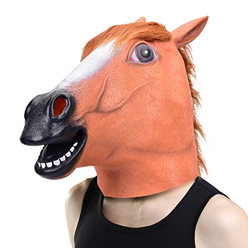 Halloween Head Mask - Horse Head Mask for Halloween Costume Party Decorations, Animal Head Mask Brown Horse for Party Makeup Cosplay Costume, Perfect Addition to Halloween Party