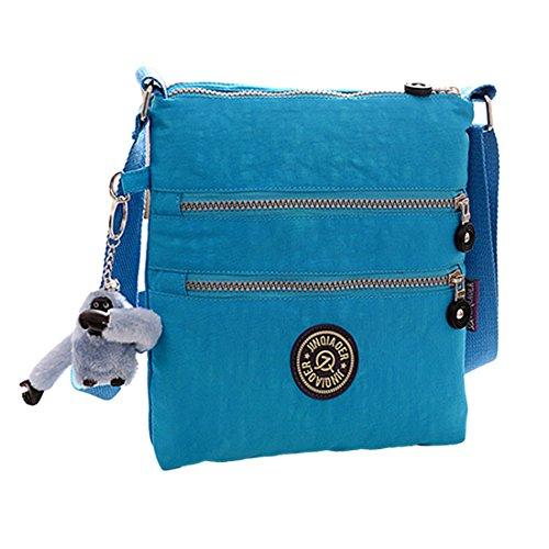 Womens Multi Pocket Crossbody Bag with Monkey Toy Casual Handbag Travel Bag Messenger for Shopping Hiking Daily Use Skyblue