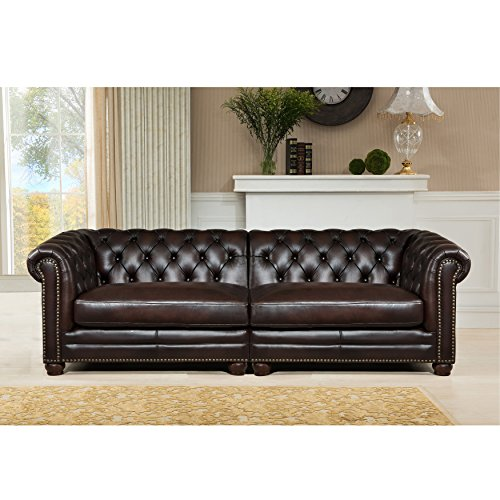 Amax Leather Kennedy 100% leather 2 Piece Sofa Set, Dark Brown
