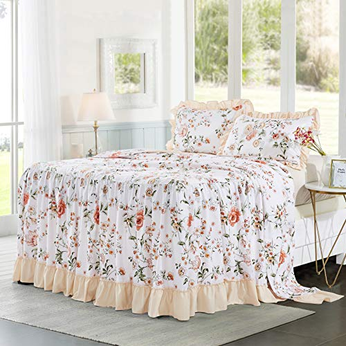 HIG 3 Piece Ruffle Skirt Bedspread Set Queen-Pink Floral Print 30 inches Drop Ruffled Style Bed Skirt Coverlets Bedspreads Dust Ruffles- HANA Bedding Collections Queen Size-1 Bedspread, 2 Shams (Bedspread With Skirt)