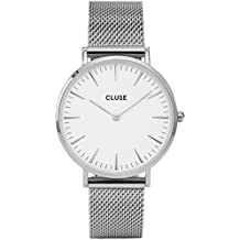 CLUSE La Bohème Mesh Silver White CL18105 Women's Watch 38mm Stainless Steel Strap Minimalistic Design Casual Dress Japanese Quartz Elegant Timepiece