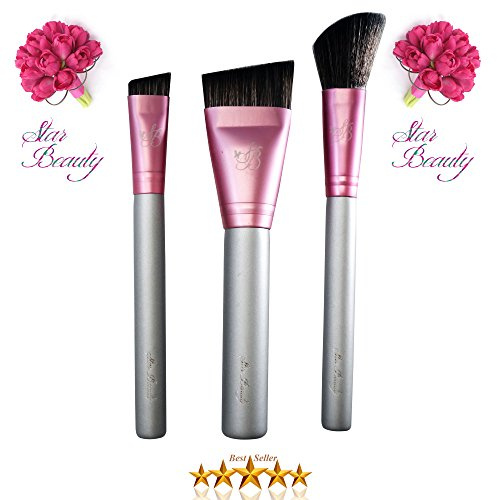 Small Contour Brush (Contour Brush & Nose Contour Brush & Blush Brush Star Beauty Premium Quality Contour Brushes for Precision Definition BEST SELLER ~ Nose Sculpting & Contouring ~ Dramatic Cheekbones ~ Angled Blending)