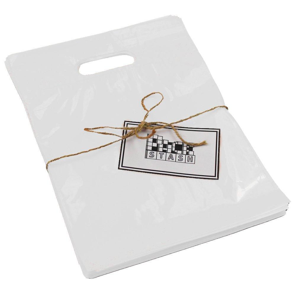 Packstash 16 x 18 x 4' (100 QTY) WHITE Retail Merchandise Plastic Shopping Bags - (LARGE) Premium Tear-Resistant Film, Double Thick Handles, Vibrant Glossy Finish