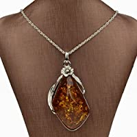 Na Na Nubngen Siam panvaBridal Tibetan Silver Amber Baltic Flower Chain Charm Necklace Pendant