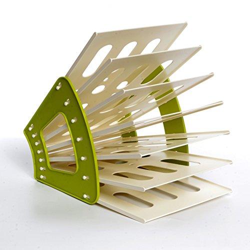 Green Newspaper Holder (Desktop storage, Plastic magazine rack Office debris basket Newspaper holder bathroom Storage rack Floor Creative Simple For home and living room-green 31x23x33cm(12x9x13inch))
