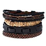Search : ACVIP Vintage Punk Concise Bangle Multilayer Bracelet Rope Wristband for Men