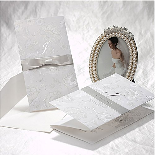 - VEMELKA Silver Embossed Wedding Invitations Cards with Ribbon Set of 50pcs Invite Card for Engagement-Graduation-Bridal-Shower B8010