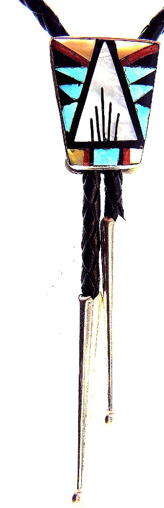 Authentic Zuni Native American Bolo Tie By Rose Bowannie