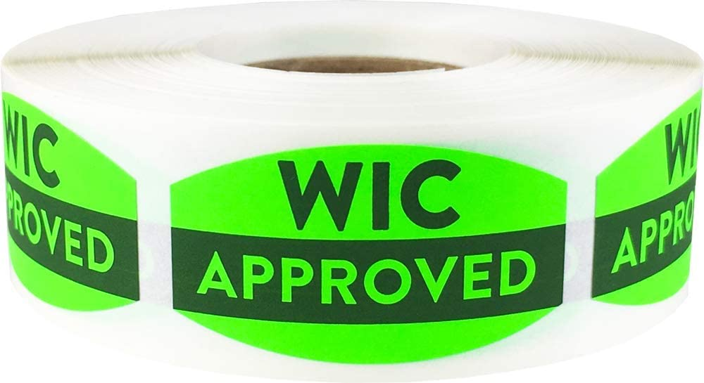 WIC Approved Grocery Store Food Labels .75 x 1.375 inch Oval Shape 500 Total Adhesive Stickers