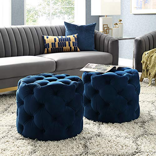 Inspired Home Navy Velvet Ottoman - Design: Lauren | Allover Tufted | Round | Modern Contemporary | 1 PC