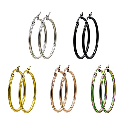(Jaykay 5 Pairs Stainless Steel Endless Hoop Earrings Set for Woman (30MM 5-COLORS))