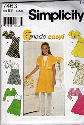 Simplicity 7463 ©1997 Girls Dress and Bolero Jacket ; Size BB 12,14,16