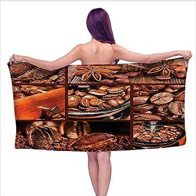 Beach Towel?Gr der fee Beans Chocolate Cocoa C NAM V Tage Macro Collage Brown O,Home Kitchen Bathroom Spa Gym Swim Hotel Use