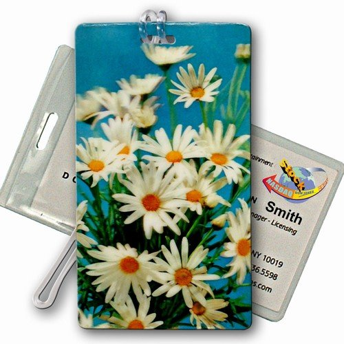 3D Lenticular All Weather Luggage Tag Plastic Loop, Flowers, Daisy, Bags Central