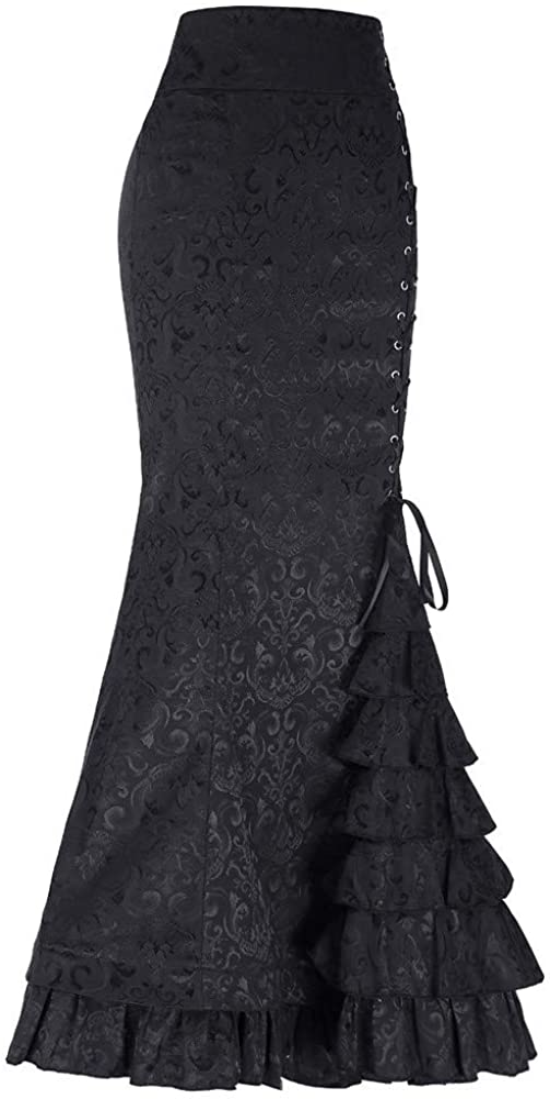 Women Fishtail Skirts Punk Style Retro Skirt Vintage Steampunk Long Lace Up Ruffle Mermaid Skirt