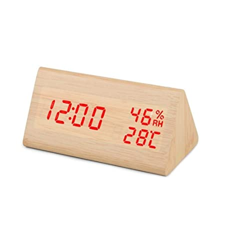 EPAWSWENLONG Reloj Despertador de Madera Mesa Control de Voz Reloj ...