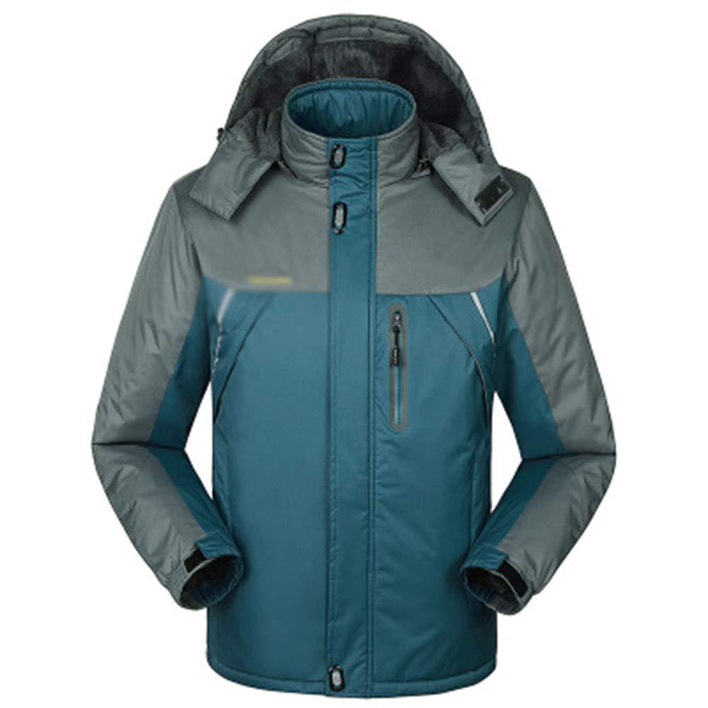 SHR-GCHAO Outdoor Sport Winterjacke Plus Samt Wasserdicht Wear-Resistant Breathable Männer Radfahren Ski Wandern Sport,Blau,L