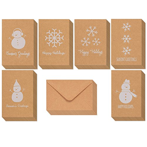 36-Pack Merry Christmas Greeting Cards Bulk Box Set - Winter Holiday Xmas Kraft Greeting Cards with Snowman and Snowflake Illustrations, Envelopes Included, 4 x 6 Inches