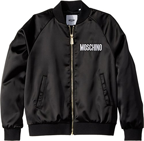 Moschino Kids Girl's Jacket w/Sequin Teddy Bear On Back (Big Kids) Black 14 by Moschino Kids