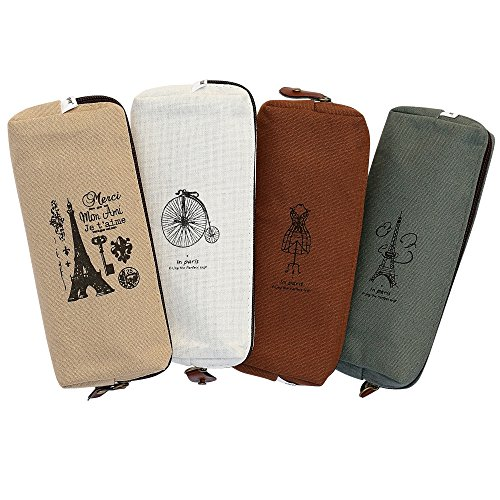 (Set of 4, IPOW Hot Vintage Canvas Student Pen Pencil Case Coin Purse Pouch Cosmetic Makeup Bag)