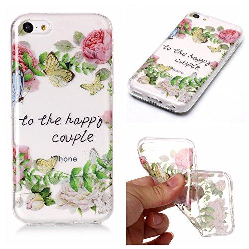 Custodia iPhone 5C , LH Foglie Verdi Rose TPU Trasparente Silicone Cristallo Morbido Case Cover Custodie per Apple iPhone 5C