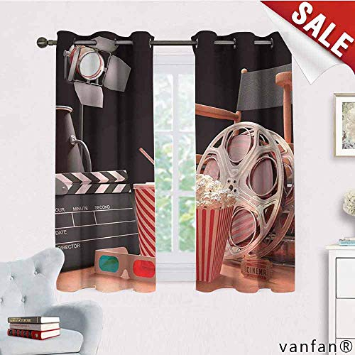 LQQBSTORAGE Movie Theater,Bedroom Curtains,Objects of The Film Industry Hollywood Motion Picture Cinematography Concept,Curtains Girls Bedroom,Multicolor -