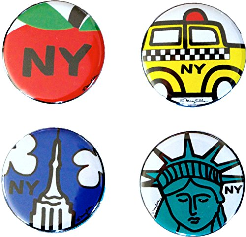 New York Mini Button Set of 4 1.25 inch NY City Souvenir Lapel Pins by Artist Mary Ellis (NY Set - Toys Mini Button