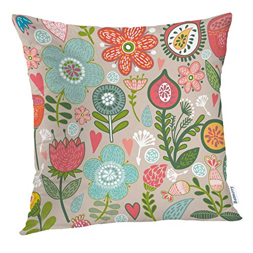 Elegance Scroll - Batmerry Floral Pillow Covers 18x18 Inch, Floral Abstract Elegance Flower Modern Fantasy Celebration Scroll Double Sided Square Pillow Cases Pillowcase Sofa Cushion