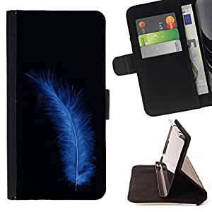 For Sony Xperia Z1 L39 Blue Bird Feather Beautiful Print Wallet Leather Case Cover With Credit Card Slots And Stand Function