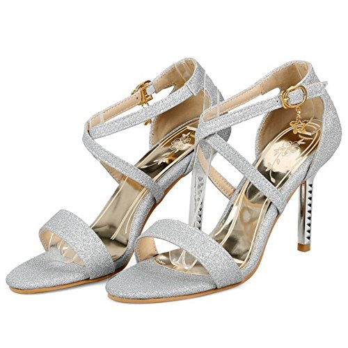Sandals Open Silver High Fashion Heel Strap Ankle Shoes TAOFFEN Women Toe pnBgpOa