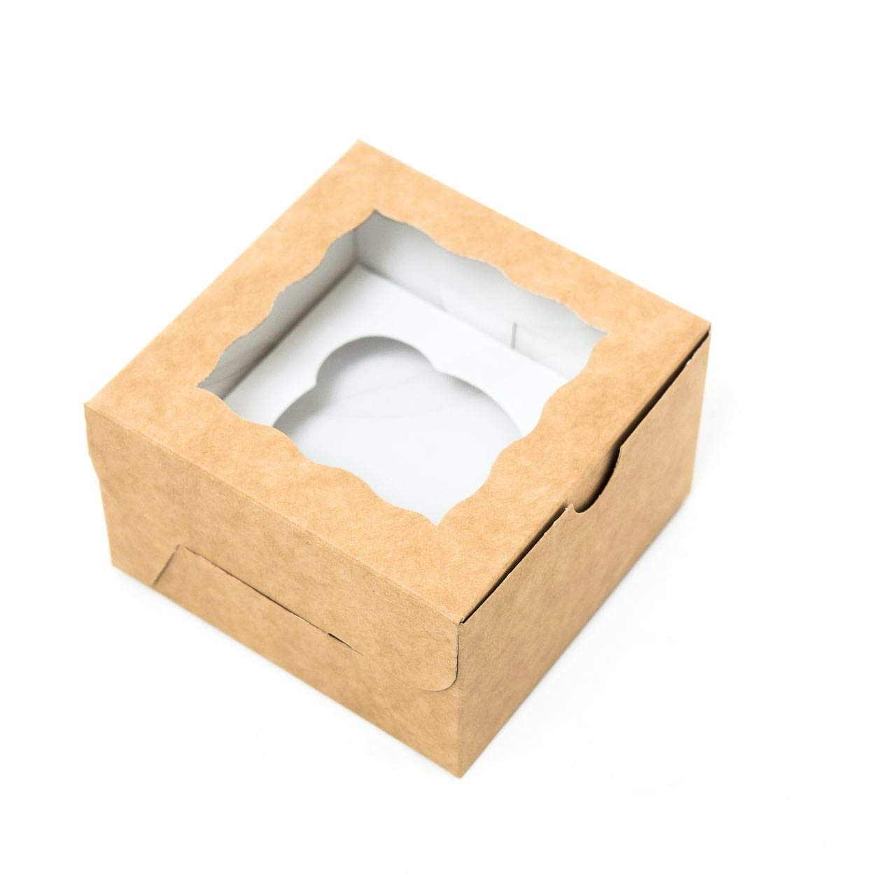 Individual Cupcake Boxes - Kraft Paper Cupcake Containers with Window 4x4x2.5 Inch - Single Muffin Box - Perfect for Mini Standard Jumbo Cupcakes Bakery Pastry Sweets - 20 Pack
