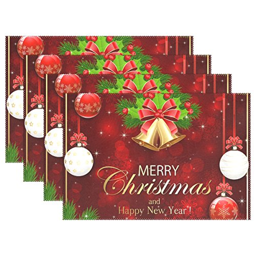 Naanle Winter Holiday Placemats Set of 4, Christmas Bells Ball Holly Berry Fir Tree Branches Heat-Resistant Washable Table Place Mats for Kitchen Dining Table Decoration ()