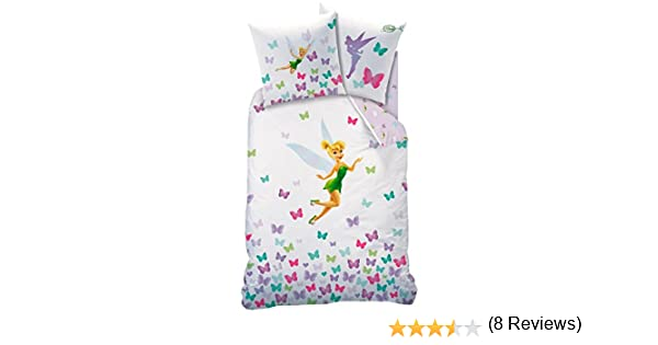 100 /% algod/ón. Juego de cama de Hadas Disney CampanillaFunda de edred/ón de 140 x 200 cm y funda de almohada de 63 x 63 cm