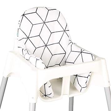 Asiento Cojín revestimiento para Ikea ANTILOP - Blanco Negro ...