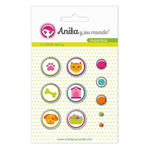 Anita and Su Mundo 37050122 - Pack of 11 Brads, Epoxy Design Pets