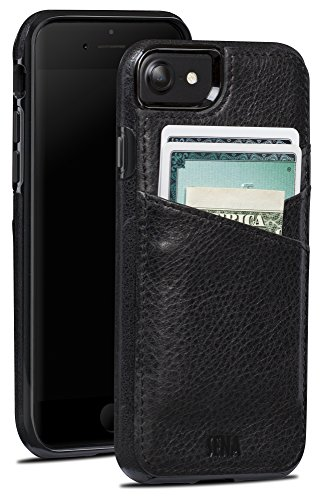 (Sena Lugano Wallet Drop Safe Leather Wallet Snap On Case iPhone 6, 7, 8 - Black)