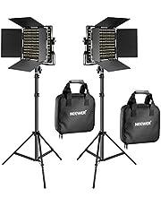 Neewer Kit de 2 Piezas Bi-Color 660 LED Luz Video y Soporte con (2) 3200-5600K Cri 96, Luz Regulable con Soporte U y Barndoor,(2) 190cm Soporte Luz para Fotografía Estudio, Video Shooting