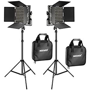 Neewer 2 Pieces Bi color 660 LED Video Light and Stand Kit Includes23200 5600K CRI 96 Dimmable Light