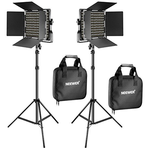 Neewer 2 Pieces Bi-color 660 LED Video Light and Stand Kit Includes:(2)3200-5600K CRI 96+ Dimmable Light with U Bracket and Barndoor and (2)75 inches Light Stand for Studio Photography, Video Shooting (Best Led Light Kit For Interviews)