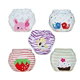 Babyfriend Baby Girls' Washable 5 Pack Training Pants Kids Potty Cloth Diaper Nappy Underwear
