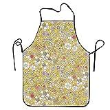 JXSL Bib Apron Yellow Flower Pattern Garden Apron Tool Aprons