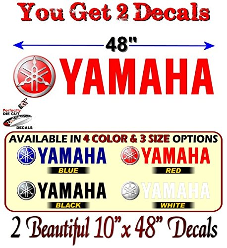 2 Yamaha Graphic Vinyl Decals for Truck Sled Snowmobile Kodiak Grizzly 700 Trailer Stickers ((2) 10''x 48'', Red)