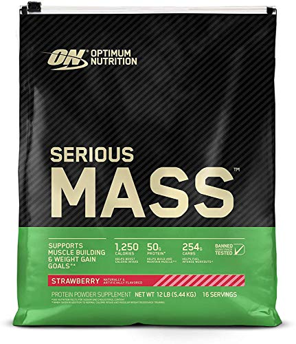Optimum Nutrition Serious Mass, Strawberry 12 Lbs, Packaging May Vary