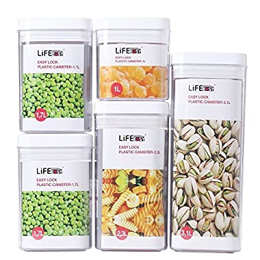 Lifeeasy 5 pieces good sealing 10.36-Quart Storage Container