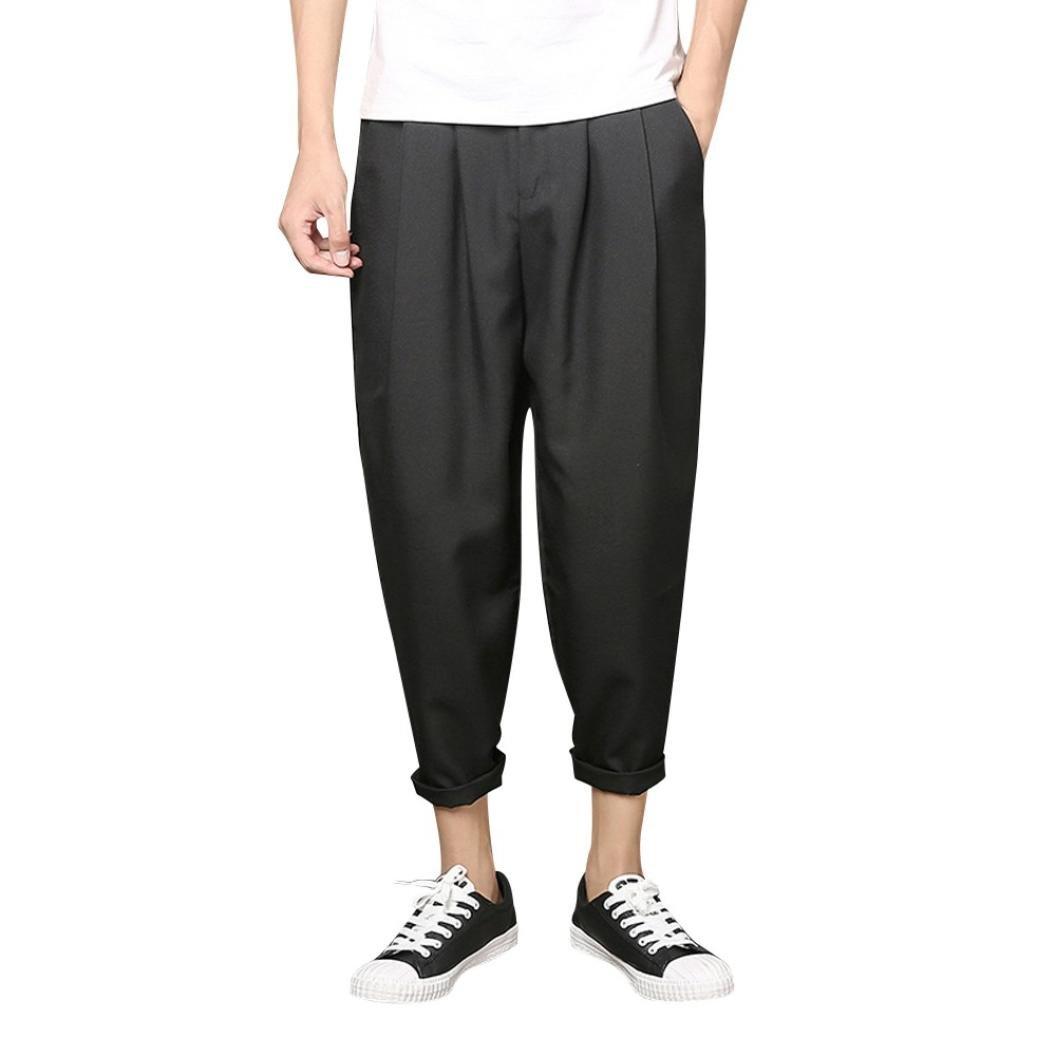 PASATO 2018 New Men's Casual Slim Sports Pants Nine Trousers Baggy Harem Pants (Black, XXXXL)