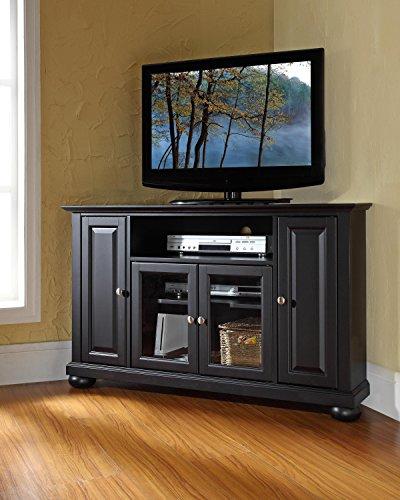 Crosley Furniture Alexandria 48-inch Corner TV Stand - Black - Rubbed Black Tv