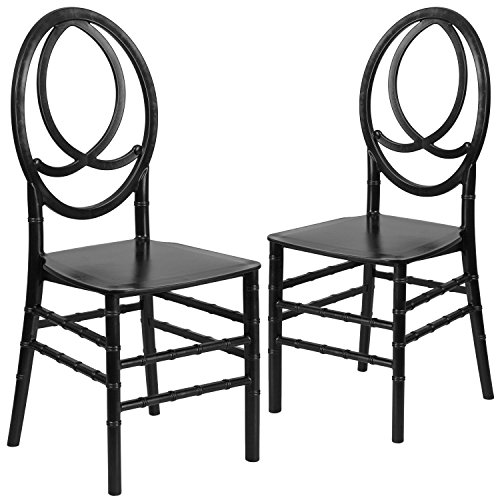 Flash Furniture 2 Pk. HERCULES Series Black Resin Stacking Phoenix Chair