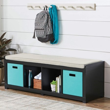Better Homes and Gardens 4-Cube Storage Organizer Bench (4-Cube, Solid Black) (1, Solid Black) from Better Homes & Gardens