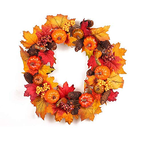 Artificial Maple Leaves Pumpkin Wreath, Fall Harvest Decorations Pumpkin Door Rattan Fake Berry Garland Thanksgiving Day Home Wall Ornament 45cm(style01)]()